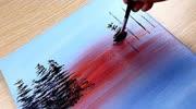 兒童畫畫,教你用油畫棒畫出漂亮的風景畫,畫的很美!