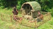 牛人兄弟!荒野求生,野外建造竹子小屋喂养狗狗